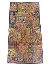 Indian Zari Beaded Embroidered Patchwork Vintage Tapestry Antique Wall Hanging