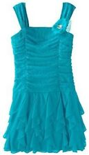 MY MICHELLE RUCHED TURQUOISE PARTY HOLIDAY EASTER DRESS GIRLS Size 8 NEW NWT $58