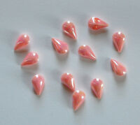 VINTAGE 12 CANDY PINK PEARLIZED PEAR TEAR SHAPE GLASS BUTTON •10x6mm • JAPAN