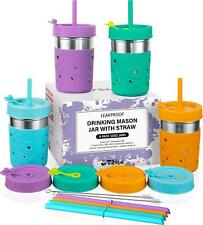 Kids and Toddler Cups with Straw - 4 Pack Spill Proof 10 OZ Mason Steel Tumbler