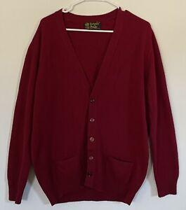Vintage CASHMERE BY PRINGLE Wine Cardigan Sweater London Mens 117/46