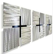 Modern Metal Wall Art  3 Wall Sculptures Silver Home, Office Decor Jon Allen