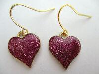 PINK/PURPLE GLITTER LOVE HEART DANGLE EARRINGS