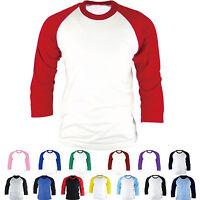 Mens Womens Raglan T-Shirt Baseball Jersey 3/4 Sleeve Sports Team Round Tee New