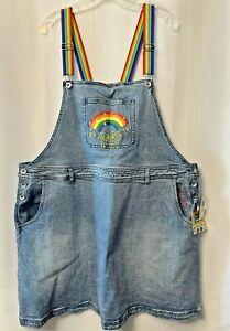 NWT womens 3X denim overall skirt Sponge Bob Rainbow pride