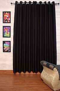 Black Faux Silk Dupioni Curtains with Lining, Select Top, Width & Length