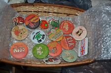 Set of 16 Various Collectible Pin Back Buttons and Rectangular Wicker Basket