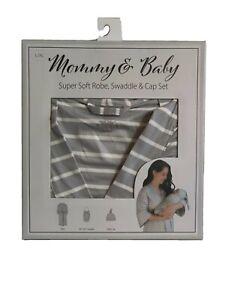 Mommy & Baby Maternity Mom Robe Matching Baby Swaddle & Cap Set L/XL Grey Stripe