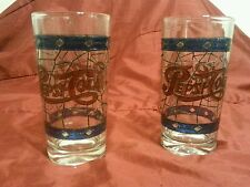1970s Vintage Pepsi-Cola Tiffany Style Stained Glass Pattern Glasses - Set of 2