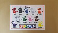 COLOURS A4 POSTER - HAND PRINTS - EYFS/SEN/CHILDMINDERS/EARLY LEARNING