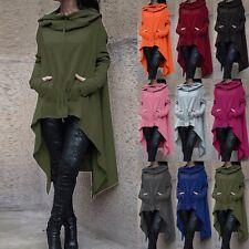 UK Plus Size Womens Hoodies Loose Long Hooded Tops Casual Ladies Sweatshirt Coat