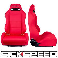 SICKSPEED ALL RED SUZUKA LIGHTWEIGHT RECLINING RACING SEATS DRIVER PASSENGER B