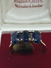 """9ct Yellow Gold """"AMETHYST"""" trilogy Ring Size N."""