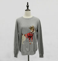 Women's Long Sleeve Crew Neck Pullover Wool Sweater, Gray, S/M/L