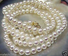 "Natural 7-8mm White Akoya Freshwater Cultured Pearl Necklace 25""  AAAA+"