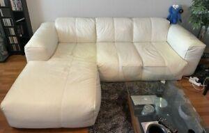 Studio Copenhagen Hudson Couch Sofa Echtleder Weiß Longchair 3 Sitzer 2700€ NP