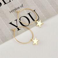 Women Boho Fashion Simple Large Circle Star Hoop Earrings Jewelry Gift
