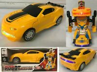 TRANSFORMERS BUMBLEBEE STYLE CAR ROBOT BUMP & GO CAR LIGHTS SOUNDS TOYS