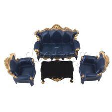 4x Dollhouse Miniatures Living Room Furniture Dark Blue Table Sofa 1:25