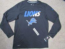 Nike Legend Logo DETROIT LIONS Long Sleeve Shirt Sz L 100% Authentic 666726 0100