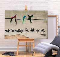 BANKSY JUST BE THANKFUL - DEEP FRAMED CANVAS  WALL ART PICTURE PRINT - GREEN