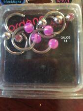 Gauge Rings 6 Pieces Stainless Steel/Plast Ardene Uv Blacklight Body Piercing 14