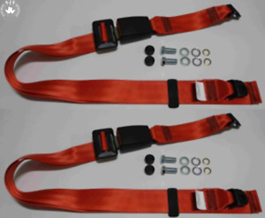Static Lap Belt Set For Vauxhall Manta A, Manta B up To '81, Red 11 13/16in