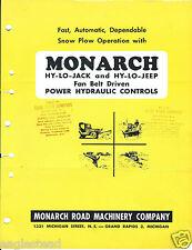 Equipment Brochure - Monarch - Snow Plow Controls - c1955 - 2 items (E3207)
