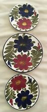 """3 SPANISH STYLE FLORAL WALL HANGING PLATES (2 x 6 1/4"""" & 1 x 8"""" DIAMETER)"""
