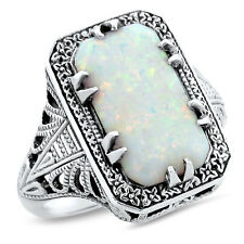 WHITE LAB OPAL DECO 925 STERLING SILVER ANTIQUE DESIGN RING SIZE 8,   #628