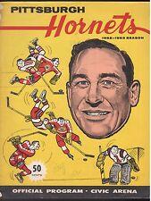 1962-63 PITTSBURGH HORNETS VS. PROVIDENCE REDS OFFICIAL GAME PROGRAM VG/EX EX