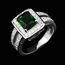 Emerald Ring White CZ Circle Size 6-10 Women's 10Kt White Gold Filled Engagement