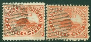 EDW1949SELL : CANADA 1858 Scott #15. 2 stamps. Extra Fine, Used. Clean. Cat $75.