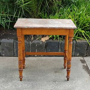 Colonial Australian Huon Pine Side Table with  Marble Top Circa 1860