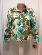Caribbean Joe Let Go Womens Jacket M Floral  Hawaiian Button  Long  Sleeves