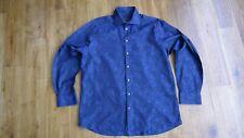 Duchamp London navy/black floral pattern long sleeve men's shirt size 17.5 in