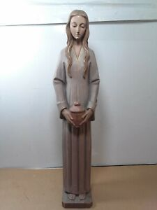 Exceptional folk art hand carved wooden female sculpture about 17.5 x 4 x 3.5