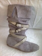 Next Grey Mid Calf Suede Boots Size 7