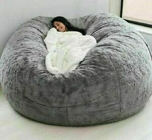 Soft Comfortable Giant Fur Bean Bag Cover Soft Fur Portable Living Room Sofa Bed