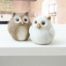 1 süße kleine Deko Eule 6 x 7 cm Creme Braun Dekoeule Uhu Owl Keramik Eulen NEU