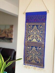 Wall decor/Wall hanging/ Tapestry, Silk,Mail Holder,Organizer,Royal Blue,Brocade
