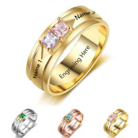Personalised Custom 925 Silver Birthstone Names Rings Anniversary Gifts For Her