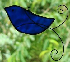 BLUE BIRD with HAND SCROLLED WIRE WINGS Stained Glass GARDEN / WINDOW Suncatcher