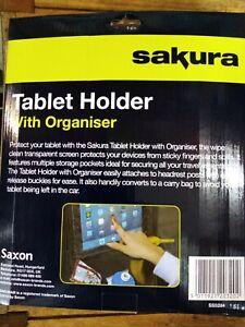 Sakura Car Tablet Holder with Back Seat Organiser and Storage Pockets New