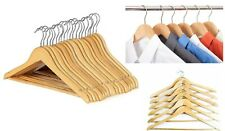60 x Wooden Coat Hangers Wood Coat Hanger Clothes Garment Suit Shirt Trouser