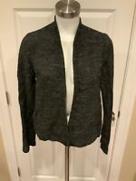 Eileen Fisher Black Tweed Open Front Jacket, Size Small