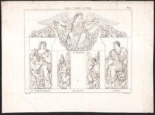 1830 Gravure Louvre vestibule la religion la charité romaine Mythologie