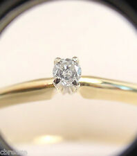 ROUND DIAMOND .10 CT 14K Y/W GOLD SOLITARE ENGAGEMENT RING