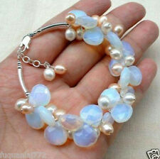 Blue Fire Opal and Fresh Water Pearl Cluster Bracele 7.5""