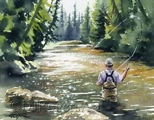 """Fly Fishing """"HOOKED UP II"""" Watercolor 11 x 14 ART Print Signed by Artist DJR"""
